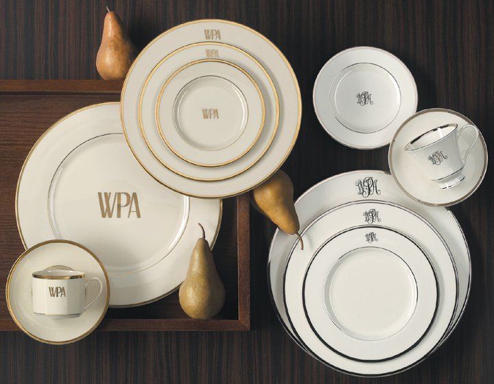 Pickard China Four Signature Monogram Bread/Butter Plates 6 in | Gracious Style & Pickard China Four Signature Monogram Bread/Butter Plates 6 in ...