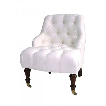 White linen tufted chair