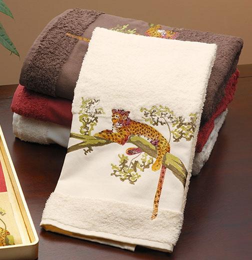 Anali embroidered tree jaguar bath towel