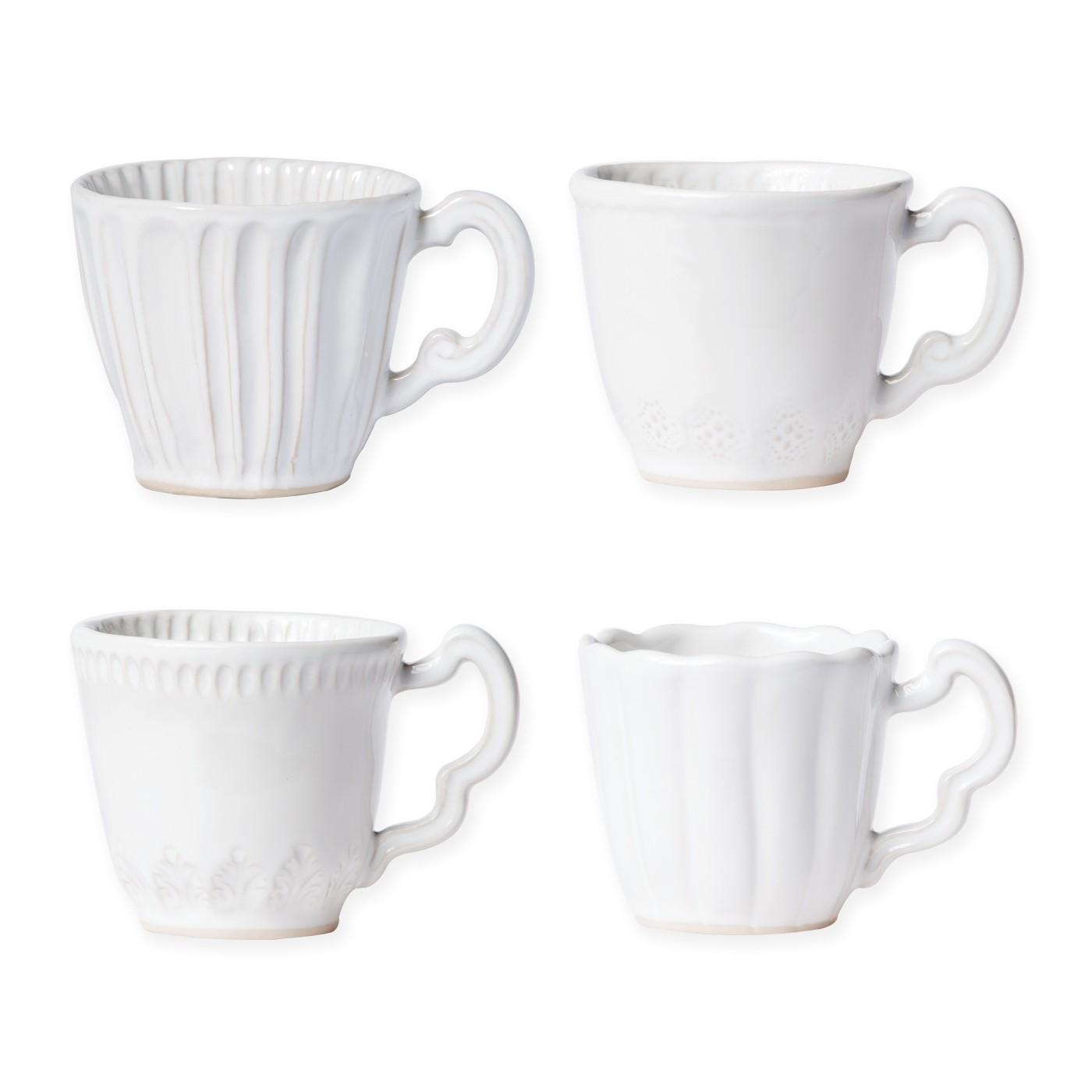 Incanto Stone White Assorted Mugs - Set Of 4 - 3.25 in. h 10 Oz  sc 1 st  Gracious Style & Vietri Incanto Stone White Dinnerware | Gracious Style