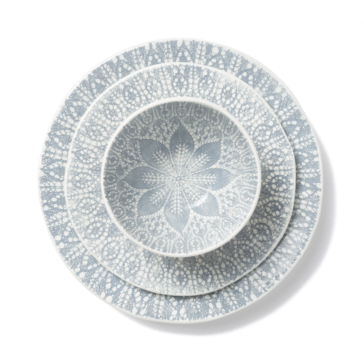 Lace Gray 3-piece Place Setting - 6 in. -11.25 in. d  sc 1 st  Gracious Style & Vietri Lace Gray Dinnerware   Gracious Style