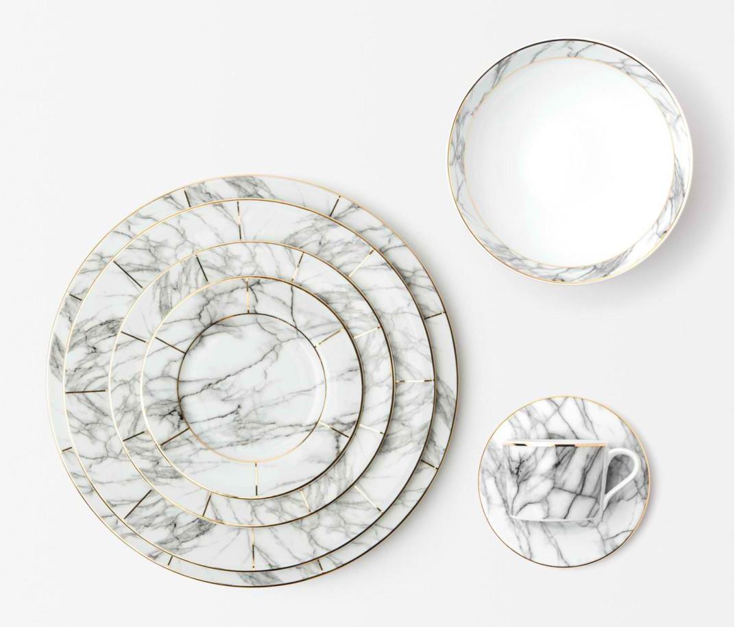 Blue Pheasant Eleni White Marble Dinner Plate Gracious Style