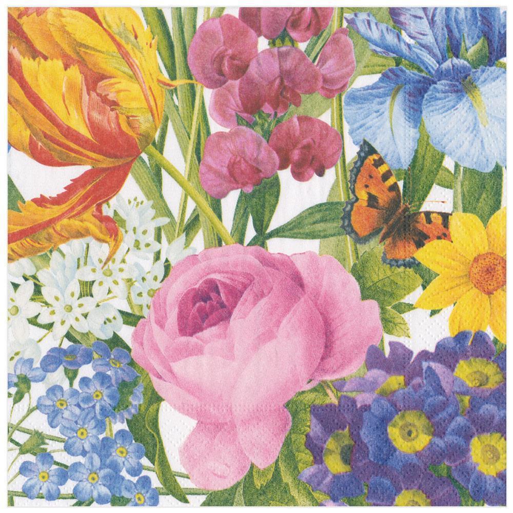 Caspari Redoute Floral Paper Dinner Napkins Ivory, 20 Per