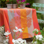 Fleurs Gourmandes Coated Peach Damask Table Linens