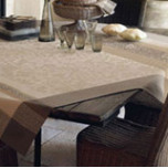 Provence Coated Beige Damask Table Linens