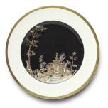 Vieux Kyoto Black Center Dessert Plate 8.25 in Round