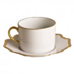Antique White with Gold Tea Saucer 6 in Round