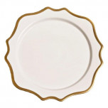 Antique White with Gold Charger 12 in Round