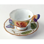 Butterfly Handle Yellow Posie Cup & Saucer