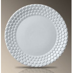 Aegean Sculpted White 10.5 in Round Dinner Plate