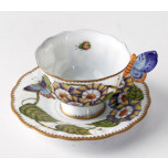Butterfly Handle Triple Flower Cup & Saucer 3 in High 4 oz 5.5 in Round