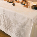 Beauregard Ivory Damask Table Linens