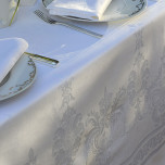 Beauregard White Damask Table Linens | Gracious Style