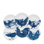 Roosters Blue Canapes Mixed Boxed Set/6