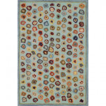 Cat's Paw Blue Wool Hooked Rug