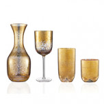 Crackle Glass Gold Stemware