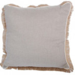 Natural Linen With Eggshell Pipe & Jute Fringe Pillow 24 X 24 In | Gracious Style