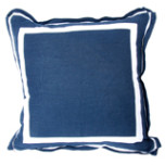 Navy Linen With White Twill Tape Pillow 20 X 20 In | Gracious Style