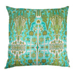 Bombay Aqua Throw Pillow 22 in Sq