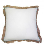 Oyster Linen With Peacock Pipe & Jute Fringe Pillow 24x24 In