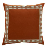 Tangelo Velvet With Amalfi Tangelo Tape Pillow 22 X 22 In | Gracious Style