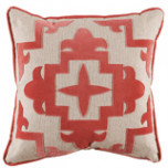 Sultana Applique Coral Velvet On Heavy Basket Pillow 22 X 22 In | Gracious Style