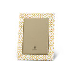 Chevron Gold and White Enamel Picture Frame