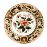Imari Accent Derby Pink Camellias 8 in Plate (Boxed)