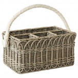 Waveney Wicker Utensil Caddy Grey Wash 12