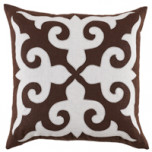 Mosaic Applique Java/Oyster Linen Pillow, 22 in square | Gracious Style