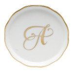 Gold Edge Coaster with Monogram 4 in. Diam Linor6