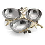 Olive Branch Gold Triple Compartment Dish | Gracious Style
