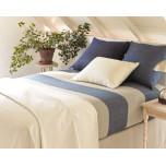 Cotton Twill Oatmeal/Ink Wide Stripe Blanket