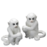 White Monkey Bookends Pair