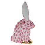 Rabbit Miniature 2.25 In H, Fishnet Raspberry (Pink)