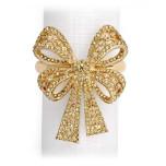 Antique Bowtie Gold Napkin Rings - Four