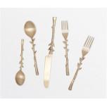 Julieta Antiqued Gold Flatware 5-Piece Set: Knife Dinner Fork Salad Fork Soup Spoon Tea Spoon
