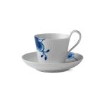 Blue Fluted Mega High Handle Cup & Saucer #2 8.5oz.