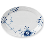 Blue Fluted Mega Plate Oval 11 in.