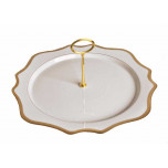 Antique White with Gold Charger Plate Tray 12 in Round
