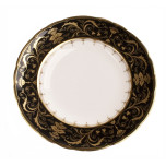 Darley Abbey Black and Gold Bread and Butter Plate 6.25 in Round