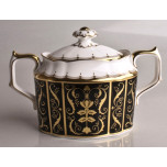 Darley Abbey Black and Gold Covered Sugar Bowl