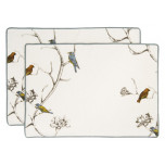 Dwell New York Chinoiserie Bird ivory vellum linen damask placemats | Gracious Style