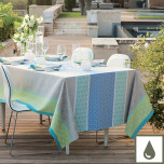 Mille Geometry Lime Coated Stain-Resistant Damask Table Linens