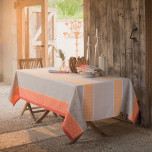 Mille Geometry Mango Coated Stain-Resistant Damask Table Linens