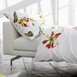 Printed Lillies Cotton Sateen Bedding Duvet Cover Shams Pillowcase   Gracious Style