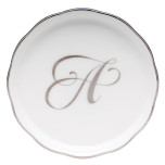 Platinum Edge Coaster with Monogram 4 in. Diam Linpt1