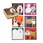 Pleather Pup Set of 6 Multi Coasters