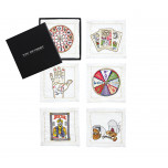 Fortune Set of 6 White/Multi Cocktail Napkins | Gracious Style