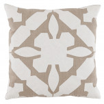Gloria Applique With Natural & Oyster Linen Pillow 22 X 22 In | Gracious Style